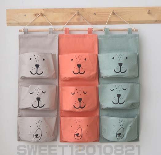 【批貨達人】日式居家創意布藝棉麻(表情熊)三格收納掛袋 分層整理 雜貨小物收納 儲物袋