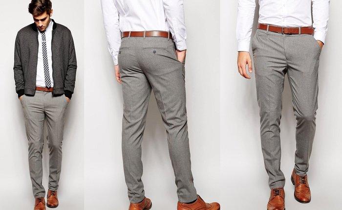 ◎美國代買◎ASOS小口袋無摺飾褲面英倫紳士雅痞風灰色西裝長褲~歐美街風~大尺碼