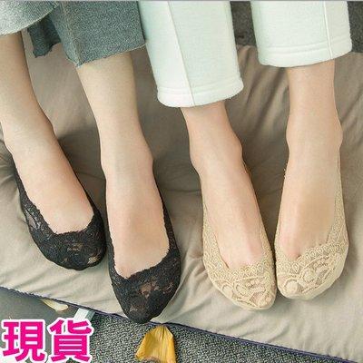 【JD Shop】韓國蕾絲船型隱形襪  360度矽膠防滑止滑襪套 襪子 船襪