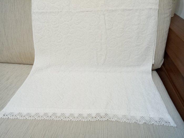 天使熊雜貨小舖~日本海渡玫瑰浴巾(白)  100純棉   日本製  全新現貨