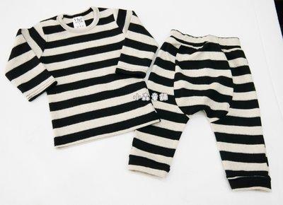 小森童舖  日韓系 男女寶寶 簡約黑x米白 寬條紋百搭款 厚棉 長袖上衣11號 製 親子裝 零碼