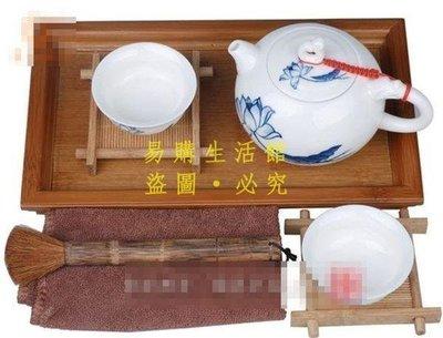 [王哥廠家直销]陶瓷功夫茶具荷韻青花小套組   小資型茶奉茶盤 迎新茶LeGou_665_665