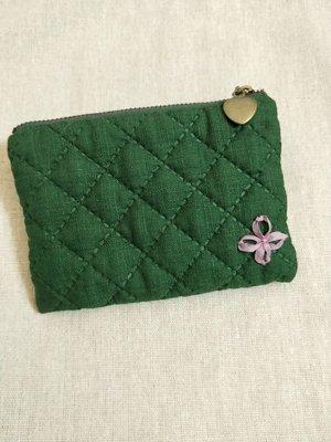 【現貨】手作小物 手作布包 緞帶小花 菱格壓紋零錢包  卡包