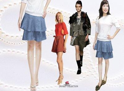 FASHION STAR*iitomoMIT~台製獨家客訂最好穿清涼~極瘦棉麻時尚雙層蛋糕淺牛仔藍褲裙XS~3XL