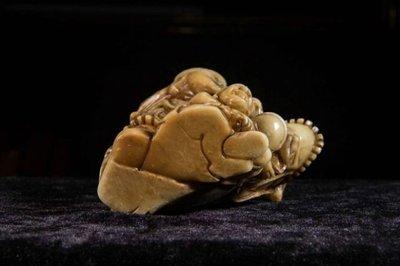 【三顧茅廬】舊藏老件 國寶壽山芙蓉石精雕擺件 趙公明立像