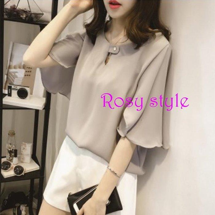 【ROSY STYLE】~韓妞新款唯美振袖襯衫, 灰藍, 薰粉, 白 M~2XL D390
