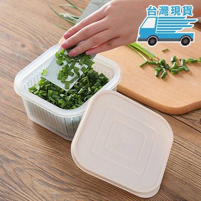 ☜shop go☞  保鮮盒 瀝水籃 方形 加蓋 收納盒 塑料 調味 密封盒 瀝水 配料 便攜式 蔥花保鮮盒【L106】