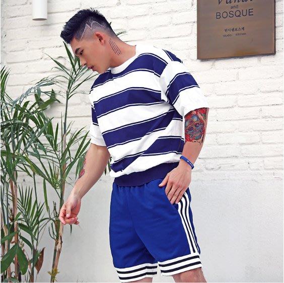 EVAN'S - 垂肩條紋針織衫五分袖