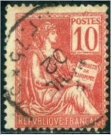 1900年法蘭西第三共和國Liberty and Peace郵票10cents