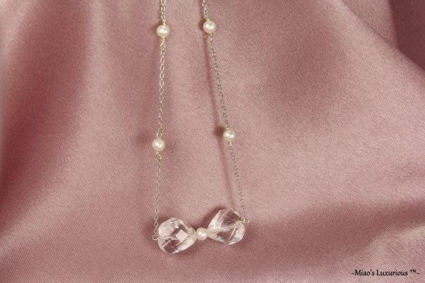 冰晶系列™~天然頂級全美超閃亮切割面愛心白水晶俏麗蝴蝶結珍珠項鍊/鎖骨鍊-短項鍊-專屬定製輕珠寶