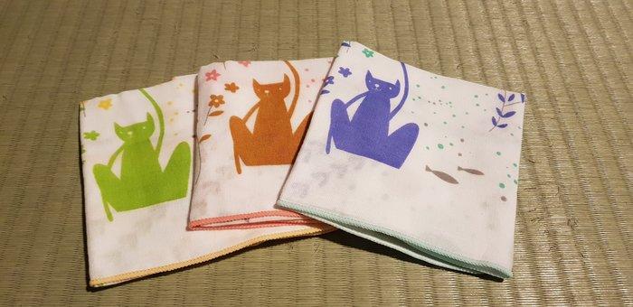 ☆°萊亞生活館 ° 624雙層紗布方巾-貓的異想 手帕 小方巾 口水巾 100%棉 台灣製造