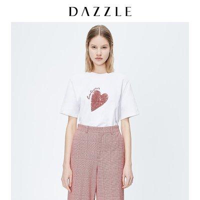 DAZZLE地素 春裝款豹紋感愛心短袖T恤上衣女2C3B3071A星星小店