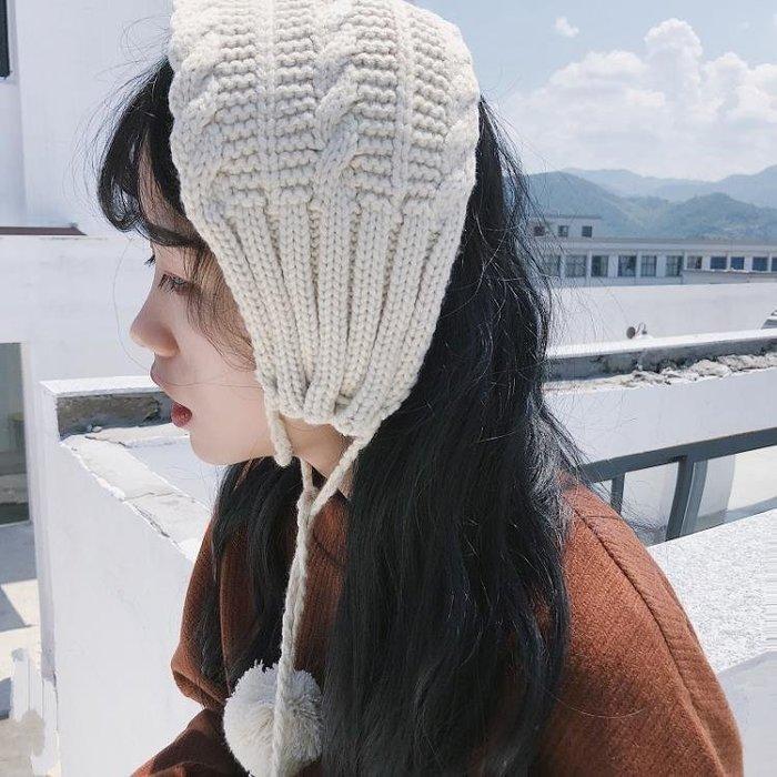 ins復古毛線耳罩可愛軟妹系帶耳暖chic保暖針織護耳套耳包