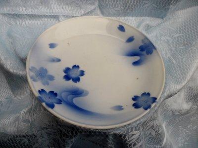 紫色小館4-----日據時代手繪青花盤(直徑17公分)