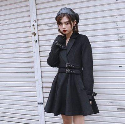 【黑店】原創設計 訂製款羊毛混紡保暖大衣外套 綁帶傘洋裝外套 個性大衣中長版大衣 羊毛大衣外套SG154