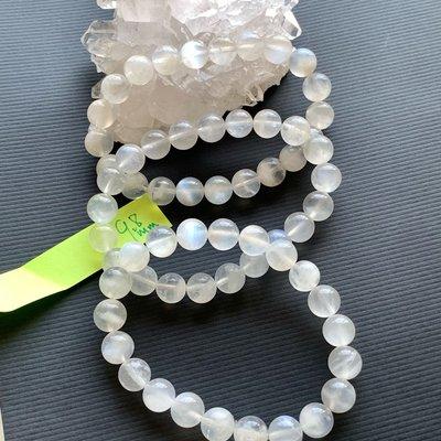 優質天然-奶油體溫潤透感藍光藍月光石9.8mm(單圈)手珠手鍊DIY串珠隔珠配珠•點點水晶•