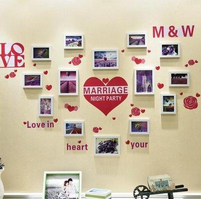 『格倫雅』相框創意掛牆 心形結婚婚紗照片牆 5寸7寸相架畫框相片牆組合(主圖款1)^7524
