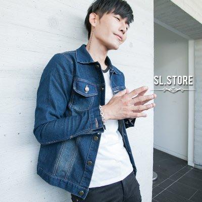 SL Store【CDJ038】百搭帥氣刷色高磅單寧牛仔外套.牛仔藍/M/L/XL/2XL