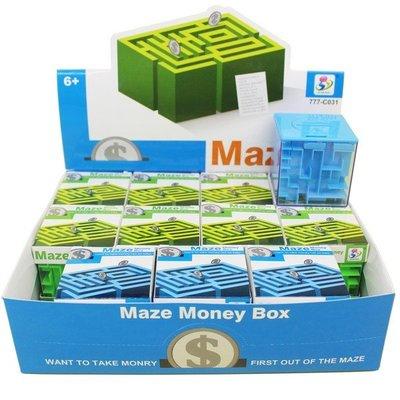 迷宮存錢罐 (中)益智存錢筒 777-C031/一盒12個入{促50}零錢罐 倒珠存錢筒 滾珠迷宮魔方存錢筒 3D立體迷