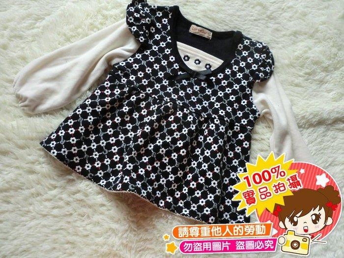❤厤庭童裝舖❤最後一件【E456】滿滿小花黑色刷毛A字上衣裙(95CM)