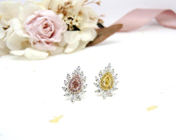 【JHT金宏總珠寶/GIA鑽石專賣】GIA天然花式鑽石耳環-0.70ct FPB/0.72ct FLY