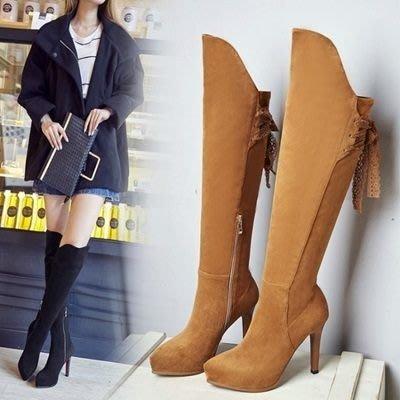 真皮過膝靴 高跟長靴-優雅蕾絲綁帶時尚女鞋2色73iv27[獨家進口][米蘭精品]