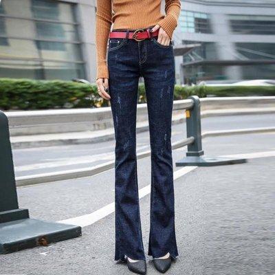 新款春冬女士牛仔喇叭褲女士高腰長褲韓版彈力修身百搭微喇褲    全館免運