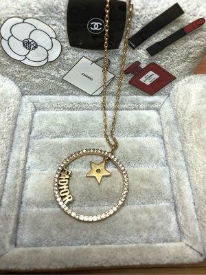 DIOR 二手 超美 鏤空 圓形 復古金 JADIOR 星星 水鑽 項鍊