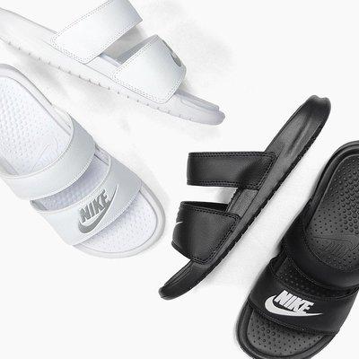 NIKE W BENASSI SLIDE 雙槓拖鞋 黑 白 拖鞋 女 819717-100 /010