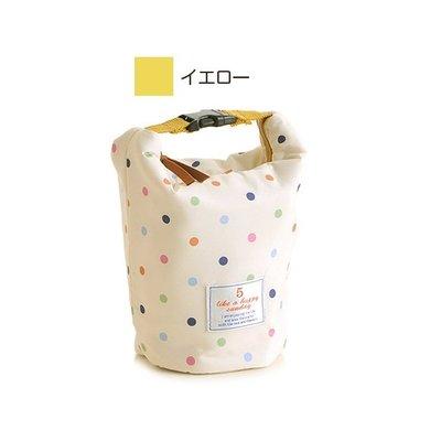 日本 Sunny Days 米黃波點帆布 保溫 迷你 圓桶型 手提袋 ($160 包順豐)