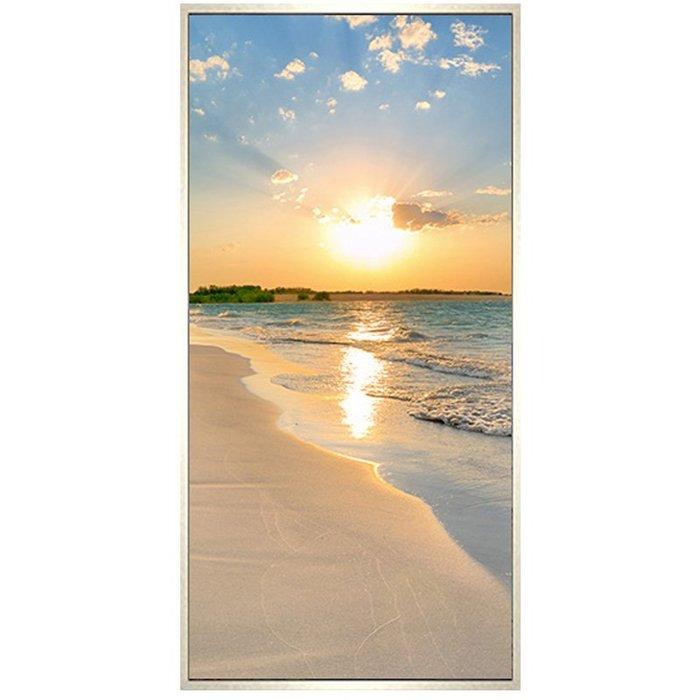 鉆石畫 滿鉆簡約現代海邊沙灘日出粘鉆 十字繡 玄關豎版鉆石秀5d 鑽石畫