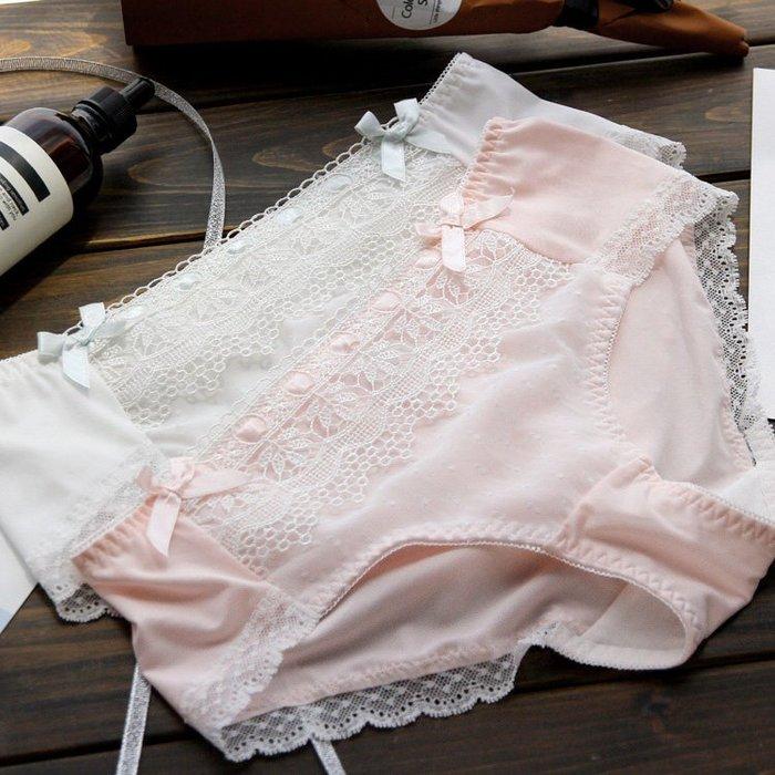 純白細緻 中低腰無痕水溶蕾絲內褲