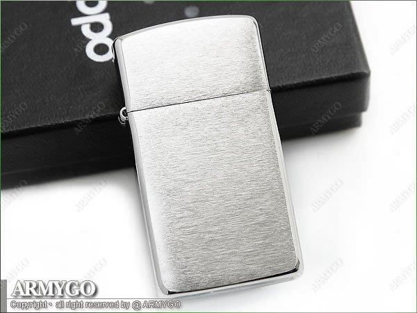 【ARMYGO】ZIPPO原廠打火機-銀色橫紋面 (窄版) NO.1600