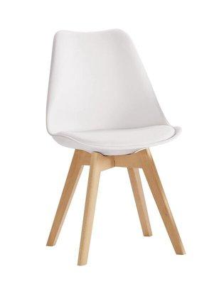 【風禾家具】FQM-1069-8@WN白色皮餐椅【台中1200送到家】書椅 耐衝擊PP材質 實木腳座 北歐風 傢俱