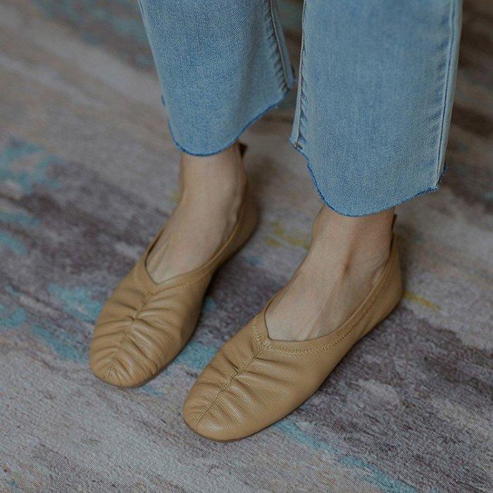 『Alice❤愛麗絲』軟糯糯的~女鞋夏季單鞋女百搭新款平底鞋真皮奶奶鞋