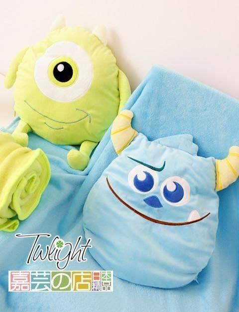 嘉芸的店 日本帶回 怪獸大學 蘇麗文 大眼仔 日本毛毯 日本抱枕 兩用多功能保暖毯 珊瑚絨日本毛毯 飛機保暖毯 寶寶毯