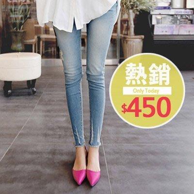 【愛天使孕婦裝】92179褲腳抽鬚 牛仔褲 孕婦褲(可調腰圍) 刷破