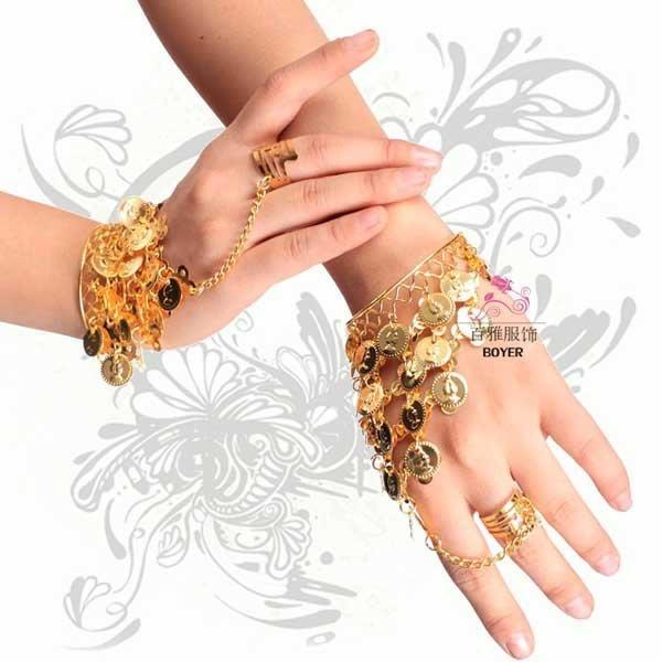 5Cgo【鴿樓】會員有優惠  43373789157 印度舞蹈配飾 肚皮舞表演演出手環拉丁舞金屬戒指手鏈 手飾品配件一對