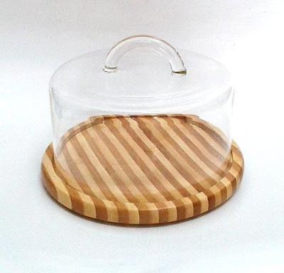晴天咖啡☼ 竹盤蛋糕蓋18cm玻璃蛋糕罩 (甜點心罩蛋糕盤點心盤食物罩展示盤玻璃罩防塵罩乳酪盤麵包盤烘培西點盤水果盤)
