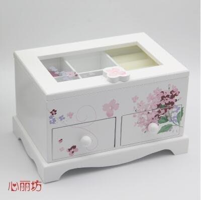 【優上】首飾盒木質 手飾品首飾收納盒小公主歐式戒指盒韓國珠寶耳釘盒子「白色」