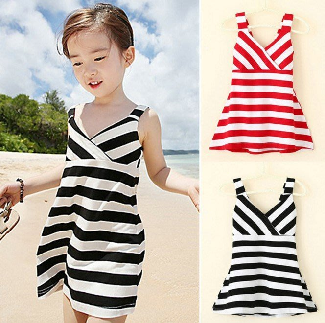 【現貨】女童背帶條紋沙灘裙海灘連衣裙