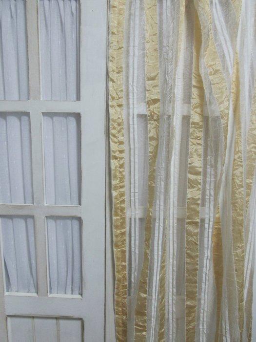 [W076]窗簾 窗紗  No.110白黃直條皺皺紗  特價出清  無接縫紗 簡約 時尚