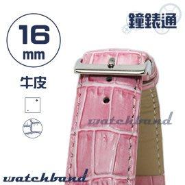 【鐘錶通】C1.31I《亮彩系列》鱷魚格紋-16mm 蜜桃粉┝手錶錶帶/皮帶/牛皮錶帶┥