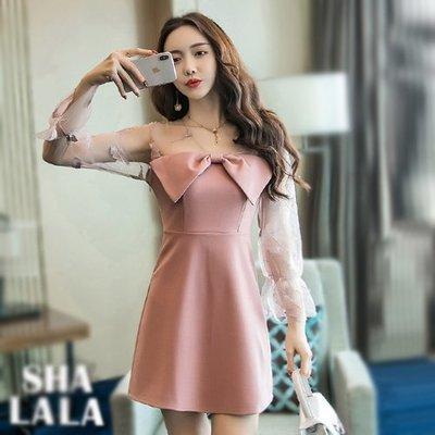 SHA LA LA 莎菈菈 韓版性感透膚網紗刺繡拼接修身長袖連衣裙洋裝3色(S~XL)2019031505預購款