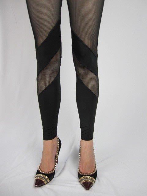 正韓貨   黑色透明斜紋顯瘦內搭褲     現貨2