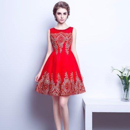 大小姐時尚精品屋~~紅色訂婚短款主持人韓版短禮服~3件免郵