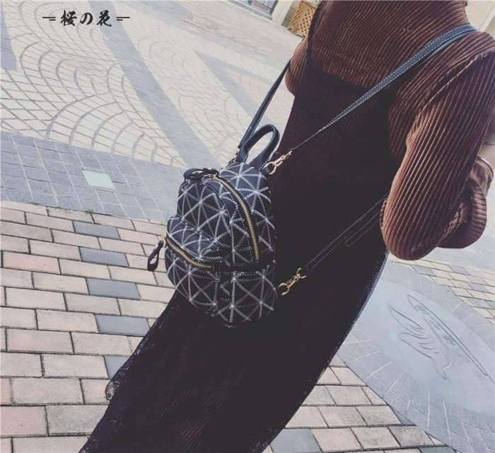 [新品]菱格車縫線迷你後背包新款韓版單肩女包百搭小背包學院風書包  〖影時代〗