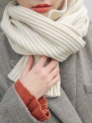 店長嚴選短款小圍巾女冬季加厚純色毛線針織chic日系秋冬圍脖學生韓版