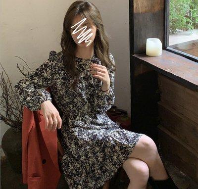 YOHO 長袖洋裝 (HH111435) 實拍韓復古時尚收腰碎花雪紡連身裙 約會尾牙