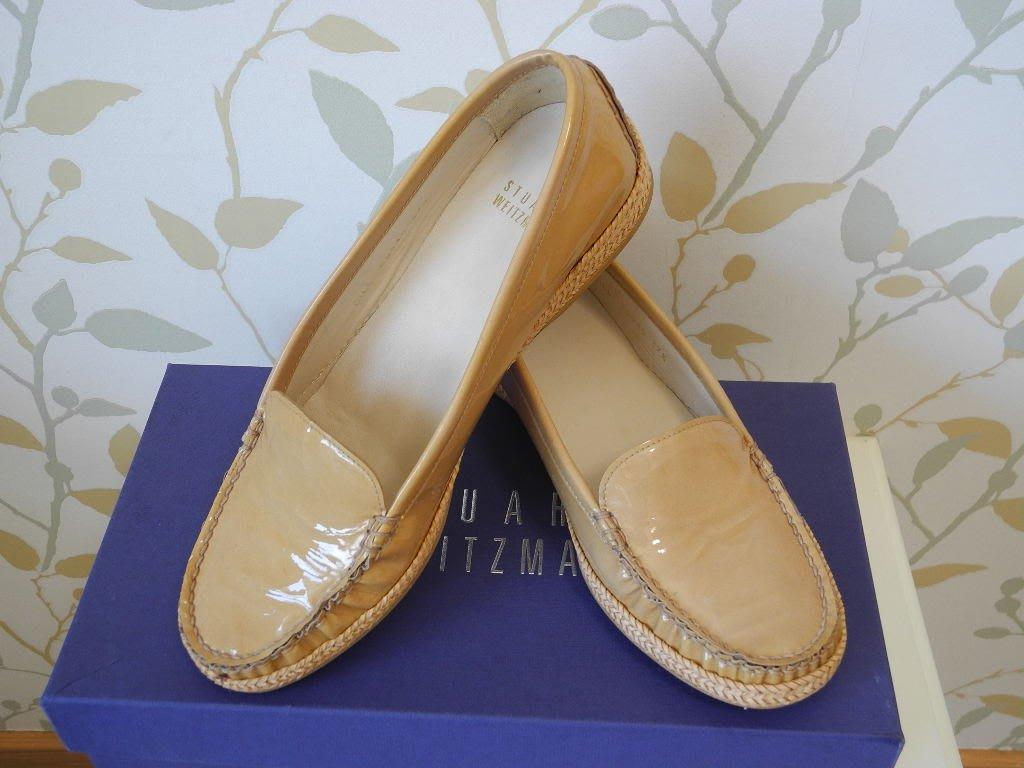 *pipi shop*全新西班牙製STUART WEITZMAN 淺焦糖色亮面真皮紳仕平底鞋, 超低特價